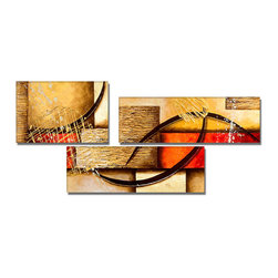fabuart - Textured Yellow Abstract Oil Painting 3 Panel -54 x 28in - This beautiful Art is 100% hand-painted on canvas by one of our professional artists. Our experienced artists start with a blank canvas and paint each and every brushstroke by hand.