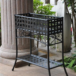 International Caravan - Iron Rectangular Plant Stand in Black Finish - Made of Iron. Rectangular in shape. 24 in. D x 10 in. W x 30 in. H