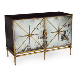 Kathy Kuo Home - Adalyn Hollywood Regency Antique Mirror Gold Black 2 Door Sideboard - We love the edgy luxury that this two door cabinet delivers.  From the black glass top all the way down to the spiral twisted, antique gold feet, this piece proves that rich doesn't have to mean stuffy or precious.  Topping it all off, the slightly deconstructed feeling of foxed mirror paired with the gold metal detailing creates an alternative take on elegance, reminiscent of raw diamonds and Rick Owen's leather pieces.