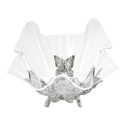 Arthur Court - Butterfly Stand w/ 11'' Acrylic Bowl - Shiny and new: Your new favorite display bowl consists of sparkling clear acrylic and sand-cast aluminum that's been hand-buffed to a brilliant shine. Durable, decorative and fun, this showpiece will maintain its gleaming good looks for years to come.