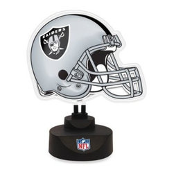 Memory Company, L.l.c, The - Oakland Raiders Neon Helmet Lamp - Light up your desk, bar or den with your favorite football team's helmet in bold, bright neon. The replica helmet is also vacuum formed for a 3-D effect.