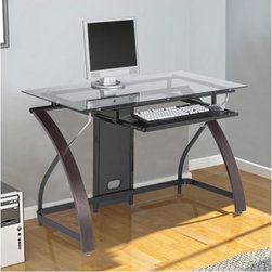 """Z-Line Designs - Claremont Computer Desk - Features: -Computer desk.-Pullout keyboard tray with room for mouse.-6mm Smoked tempered safety glass.-Chrome cylinder glass supports.-Spacious desktop workspace.-Ships ready to assemble.-Desk Type: Computer Desk.-Top Finish: Smoke.-Base Finish: Espresso.-Accent Finish: Espresso.-Powder Coated Finish: No.-Gloss Finish: No.-UV Finish: No.-Top Material: Glass.-Base Material: Wood.-Non-Toxic: Yes.-Water Resistant: No.-Stain Resistant: No.-Heat Resistant: No.-Style: Contemporary.-Design: Standard Desk.-Distressed: No.-Eco-Friendly: Yes.-Cable Management: Yes.-Keyboard Tray: Yes.-Height Adjustable: No.-Drawers Included: No.-Pencil Drawer: No.-Jewelry Tray: No.-Exterior Shelving: No.-Cabinets Included: No.-Ergonomic Design: No.-Handedness: Both Left and Right.-Scratch Resistant: Yes.-Chair Included: No.-Legs Included: Yes -Number of Legs: 2.-Leg Glides: No..-Casters Included: No.-Hutch Included: No.-Treadmill Included: No.-Modesty Panel: No.-CPU Storage: No.-Built In Outlet: No.-Built In Surge Protector: No.-Light Included: No.-Tipping Prevention: No.-Modular: No.-Lifestage: Kids,Teen,Adult.-Application: Home Office; Professional; Industrial.-Commercial Use: Yes.-Product Care: Wipe with soft cloth.-Weight Capacity: 52.03 lbs.-Solid Wood Construction: No.-Wood Tone: Medium Wood.-Swatch Available: No.-Recycled Content: No.Specifications: -FSC Certified: No.-EPP Certified: Yes.-CARB Compliant: Yes.-ISTA 3A Certified: Yes.-General Conformity Certificate: No.-Green Guard Certified: No.-ANSI BIFMA Certified: No.-SCS Certified: No.-ADA Compliant: No.-FIRA Certified: No.-GSA Approved: No.Dimensions: -Overall Height - Top to Bottom: 30"""".-Overall Width - Side to Side: 47"""".-Overall Depth - Front to Back: 24"""".-Desktop Height: 30"""".-Desktop Width - Side to Side: 47"""".-Desktop Depth - Front to Back: 24"""".-Knee Space Height: 25.6"""".-Knee Space Width: 45.2"""".-Knee Space Depth: 20"""".-Legs: -Leg Height: 25.6"""".-Leg Width - Side to Side: 2.9.-Leg Depth - """