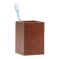 """Pigeon & Poodle - Pigeon & Poodle Hampton Tobacco Leather Toothbrush Holder - The Pigeon & Poodle Hampton toothbrush holder's sleek design complements a modern bathroom. In tobacco brown, this accessory's leather texture and exposed stitching lend a luxe aesthetic. 3""""W x 3""""D x 4.5""""H; Waterproof interior; Reflecting a handmade artistry, slight variations may occur"""
