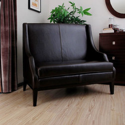 None - Lummi Dark Brown Leather High-back Loveseat - Add a contemporary accent to your decor with this brown high-back loveseat. Featuring a sophisticated style that is sure to stand out,this leather seat has a wooden frame that enhances its durability and top-grain upholstery that will last for years.