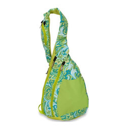 "Picnic Plus - Peyton Hybrid Sling, Green Paisley - Picnic Plus Peyton Hybrid Insulated Sling, Green Paisley. Color/Design: Green Paisley; Interior divided sections to hold accessories; Fully insulated cooler section for lunch, beverages, snacks and travel; Adjustable, padded sling strap, and mesh back panels; Outside pocket holds an iPhone, Smartphone, personal electronics and has a slotted tab for earbuds. Dimensions: 10""W x 5""D x 16""H"