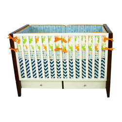 Modified Tot - Baby Bedding Crib Set, Pop Deer - A pop of color in your woodland nursery! Our exclusive prints featuring bright deer, chevrons and wood grain in orange, lime green and deep turquoise blue.