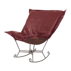 Howard Elliott Avanti Apple Scroll Puff Rocker - Titanium Frame - Nouveau Riche! The Avanti Puff Chair is the latest and the greatest addition to the Puff Chair line. Add a touch of urban sophistication to any decor with its paneled design and supple leather look and feel, without the expense of owning real leather.