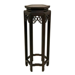 """Oriental Furniture - 28"""" Hexagon Plant Stand - A classic six sided Chinese decorative plant stand, sturdily crafted from fine, kiln dried solid Rosewood. It's great for displaying house plants, vases, porcelain jars, carvings, castings, statues, or figurines."""