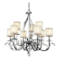 "Kichler - Jardine 2-Tier Chandelier by Kichler - Exquisitely decorated and designed, with a lushly romantic glow. The Kichler Lighting Jardine Two-Tier Chandelier is ideal for traditional and transitional living rooms, dining areas and more. With clear polished pendalogues and laser-cut flourishes that provide beautiful multifaceted reflections.Since 1938, Cleveland-based Kichler Lighting has created exceptional lighting in a variety of styles, finishes, colors and designs. With a diverse collection of indoor and outdoor lighting in classic and contemporary styles, Kichler Lighting always focuses on making home lighting that is both beautiful and functional.The Kichler Jardine Two-Tier Chandelier is available with the following:Details:9 Metallic-Frosted outer glass shadesCased opal inner glass shadesClear Polished PendaloguesChrome finishCeiling canopy72"" chainUL ListedLighting: Nine 60 Watt 120 Volt Type B10 Candelabra Base Incandescent lamps (not included).Shipping:This item usually ships in 3-5 days."