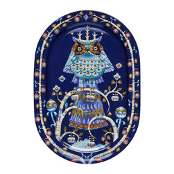 """iittala Taika Serving Platter 16.1"""" Blue - Iittala Taika is part of the whimsical Taika series, illustrated by Klaus Haapaniemi for Iittala in 2007. Available in white, blue and black the design draws upon folklore for a fanciful design that is visually stunning. Taika means 'magic' in Finnish and the classic forms designed by Heikki Orvola combine well with other Iittala collections, brings a playful magic to your table."""