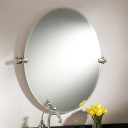 """31"""" Seattle Oval Tilting Mirror - Echoing the rounded shape of its brackets, the 31"""" Seattle Tilting Mirror has an oval shape and a sleek, frameless design. Brackets are crafted of solid brass."""