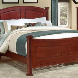 Vaughan Bassett - Panel Bed w Nightstand & Chest in Cherry Fini - Choose Bed Size: FullIncludes panel bed, nightstand and chest. Cherry finish. Assembly required. Nightstand:. 2 Drawers. 26 in. W x 16 in. D x 26 in. H. Chest:. 5 Drawers. 38 in. W x 18 in. D x 54 in. H. Panel bed:. Full Size:. Includes panel headboard, panel footboard and wood rails with 3 1-inch slats. Panel headboard: 58 in. L x 4.5 in. W x 55 in. H. Panel footboard: 58 in. L x 4.5 in. W x 32 in. H. Wood rails: 76 in. L x 6 in. W x 1 in. H. Queen Size:. Includes panel headboard, panel footboard and wood rails with slats. Panel headboard: 65 in. L x 4.5 in. W x 56 in. H. Panel footboard: 65 in. L x 4.5 in. W x 32 in. H. Wood rails: 82 in. L x 6 in. W x 1 in. H. California King Size:. Includes panel headboard, panel footboard, wood rails and metal slats. Panel headboard: 82 in. L x 4.5 in. W x 58 in. H. Panel footboard: 82 in. L x 4.5 in. W x 32 in. H. Wood rails: 86 in. L x 6 in. W x 1 in. H. Eastern King Size:. Includes panel headboard, panel footboard, wood rails and metal slats. Panel headboard: 82 in. L x 4.5 in. W x 58 in. H. Panel footboard: 82 in. L x 4.5 in. W x 32 in. H. Wood rails: 82 in. L x 6 in. W x 1 in. H