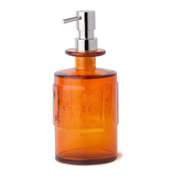 WS Bath Collections - Saon Colored Glass Soap Dispenser - Saon by WS Bath Collections, Soap Dispenser in Colored Glass with Chrome Pump, Available in Orange, Pink or Blue, Made in Italy