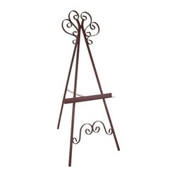 Marseilles Wrought Iron Picture Display Easel - Give your salon (or living room) a splash of color by displaying your favorite painting on the Marseilles Wrought Iron Picture Display Easel. This sturdy wrought iron easel features decorative Marseille-style accents between the front legs and at the apex. It's the perfect way to showcase that heirloom Matisse. Don't have an Old Master painting? You can use it to display priceless family portraits or enlarged snapshots of the kids. Available in your choice of four distinctive finishes.About Grace Manufacturing Company Grace Mfg. Co. manufactures metal and wrought iron furniture from their headquarters in Rome, Georgia. For over 25 years, their artisans have created durable metal and wrought iron bar stools, racks, beds, dining chairs, dinettes sets, and tables. Their heirloom-quality wrought iron furniture is hand crafted by skilled metal smiths at their Rome, Georgia plant. Made in the United States of America.