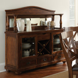 """Steve Silver Furniture - Steve Silver Wyndham Buffet w/ Hutch in Distressed Tobacco - The Wyndham Dining Collection adds a rustic country charm to any dining area  with modern touches that even the most sophisticated home decorator will love. The Wyndham server with wine storage combines old-fashioned appeal with a modern central wine storage area. There is plenty of room for storing other necessaries like china and silver  with three drawers and two glass-front cabinets. The spacious 20"""" x 35"""" top adds extra serving surface. Pair with the mirrored Wyndham hutch (sold separately) for even more storage and display options."""