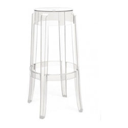 Kartell - Charles Ghost Stool, Set of 2, 30 Inch, Transparent Crystal | Design Public - Sidle up and sip your martini in high style with this distinctive stool. Its rounded, slightly upturned legs are characteristic of the classic high stools of the 19th century, but its translucent design makes it the cool stool of today. Produced from a single block of transparent polycarbonate, it's highly durable, so you can use it indoors or out.