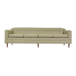 Mid-Century Modern 4 Seat Walnut Sofa - Manufactured in the 60s in the US, this Mid-Century Modern green sofa is a 4 seat knockout!  A long sofa that will look amazing in a minimal, Mid-Century home.  The frame is constructed of walnut.  A timeless piece in excellent, newly refinished & reupholstered condition.