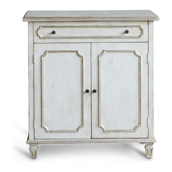 Eloquence - Royale French Country Antique Silver White Wash Nightstand Cabinet - This beautiful bedside table is as pretty as it is practical. A large drawer offers space for essentials, while a cabinet below conceals personal items or extra linens. The whitewashed finish is highlighted with elegant silver trim for a romantic, regal nightstand.
