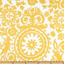 Premier Prints Suzani Slub, Yellow/White - This is such a fun pattern! The simple color scheme and the ornate print would make for a fantastic headboard.