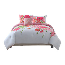Pem America - Gwen King Comforter with 2 shams - Beautiful large scale flower print on a white background. King Comforter (108x90 inches) with 2 king shams (20x36 inches). 100% Cotton Face with cotton/polyester reverse.  Polyester filling. Machine washable.