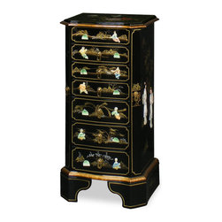 China Furniture and Arts - Black Lacquer Jewelry Chest with Pearl Motif - This beautiful jewelry chest has a mirrored lift-top with two felt-lined trays for rings. Six spacious felt-lined drawers are in the middle. Hooks for necklaces are behind two side doors. Mother of pearl maiden and children figures with Chinese garden scene decorates the entire unit. Hand forged brass hardware. A perfect gift for every woman.