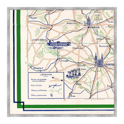 Plan Guide Monuments de Paris D Framed Giclee - Evocative of a Paris sojourn, when traversing narrow pathways led to bijou bistros and well-traveled roads pointed toward majestic monuments. In vivid green and deep navy blue, the Plan Guide Monuments de Paris D illustrates, in classic style, a component of an intricate map detailing the intoxicating attractions of the City of Light and its surroundings, including Foret de Dreux. An exceptional addition to a grand library, great room, or French-inspired kitchen.