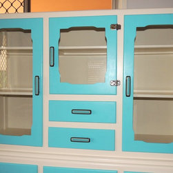 Vintage cabinet with custom glass hardware by Uneek Glass Fusions - Vintage cabinet with Uneek Glass Fusions turquoise and brown furniture hardware. Creating one of a kind art glass cabinet hardware in custom sizes, color, designs, and screw placement.