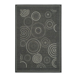 """Safavieh - Courtyard Black/Yellow Area Rug CY1906-3908 - 2' x 3'7"""" - Safavieh takes classic beauty outside of the home with the launch of their Courtyard Collection. Made in Belgium with enhanced polypropylene for extra durability, these rugs are suitable for anywhere inside or outside of the house. To achieve more intrica."""
