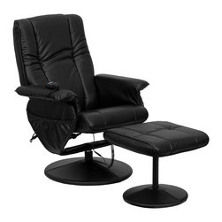 Flash Furniture - Massaging Leather Recliner w Ottoman in Black - Massage controls on recliner and ottoman. Comfortably designed chair. Black leather upholstery. Deep side pockets. Swivel seat. Leather wrapped bases. On/off remote control. Auto control. Timer control. Heat control. Nine massage modes. Five intensity levels. Massages shoulders, lumbar, seat and thighs. Green certified: Yes. Supplier warranty: Our products have a two year warranty for parts. This warrants against defects in manufacturing. If the products are used excessively (more than 8 hours/day), and have excessive weight (over 225 lbs.) applied, the warranty is void. New parts will be sent out, or the item will be replaced at our discretion. Made from foam, leather and metal. Minimal assembly required. Seat: 20 in. W x 19.5 in. D x 19.5 in. H. Seat thickness: 5 in.. Back: 23 in. W x 28 in. H. Arm height from floor: 24.5 in.. Arm height from seat: 9 in.. Weight capacity: 250 lbs.. Chair: 30.75 in. W x 31 - 43 in. D x 41 in. H (56 lbs.). Ottoman: 19 in. W x 19 in. D x 17 in. H