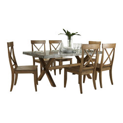Liberty Furniture - Liberty Furniture Keaton 7 Piece 76x38 Dining Room Set in Medium Wood and Metal - Crossed trestle base, clean lines, and a casual honey finish give this dining set a relaxed look for your kitchen or casual dining space. A Zinc metal table top offers a modern spin on casual dining that looks great in any home. The table trestle base maximizes foot and leg room while maintaining a stylish allure. The chair's scooped seat and higher back offer comfort and support, while the x-back design, tapered legs, and warm honey finish bring a stylish aesthetic to your dining space. Spice it up with a metal-on-wood dining group centerpiece in your dining room. With a slight mission edge, this casual modern dining set is designed to to last through the years. What's included: Dining Table (1), Side Chair (6).