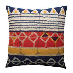 "KOKO - Java Pillow, 26"" x 26"" - How clever is that embroidery work? Cobalt thread made to look like dripping paint is pretty genius. The effect is subtle, but breaks up the rest of the bold design perfectly."