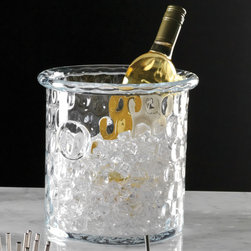 Honeycomb Ice Bucket/Cooler with Rolled Edge - Chill a drink to perfection while maintaining an elegant look with the Honeycomb Ice Bucket and Cooler � a sleek, perfectly clear vessel which looks substantial and right in a transitional dining room but does not remove the wonderful possibilities that come from pairing this handcrafted cylindrical wine bucket with other old-world accents that exhibit a craftsman's precise touch.  A soft texture and rolled lip are among the beautiful details in this hand-blown glassware piece.