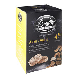 Bradley - 48-Pack Bisquets Alder Flavored - -Bradley Smoker alder bisquettes are rendered from natural hardwoods without additives, producing a clean smoke flavor