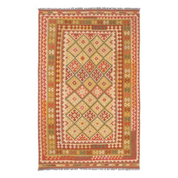 """Torabi Rugs - Flat-weave Izmir Kilim Pink Wool Kilim 6'6"""" x 10'2"""" - Izmir rugs and kilims are handmade by semi-nomadic tribes who live in Western Turkey. Wool and locally produced natural dyes are used in their weaving. Predominant colours used are cream, browns, beige, and blues. The designs used have representation of flowers, ears of grain sometimes stylized animal and human figures. These bold oriental designs will inspire a variety of interiors e from traditional and contemporary to south western decors."""