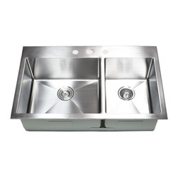 "Ariel - 36 Inch Top-Mount / Drop-In Stainless Steel 60/40 Double Bowl Kitchen Sink - The Ariel 60/40 heavy duty kitchen sink is perfect for large pots and pans. Made from 16 gauge heavy duty stainless steel, this sink is built to last. Dimensions 36"" x 22"" x 10""."