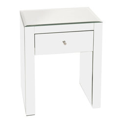 Worlds Away - Worlds Away - Ginger One Drawer Nightstand - Ginger, Mirrored - The Worlds Away Ginger nightstand provides a transitional complement to the modern bed. Clean-lined and refined, the mirrored side table features a single drawer for storing bedside essentials.