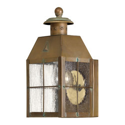 Hinkley Lighting - Nantucket Junior Wall Outdoor Lantern - A throwback to the golden age of whaling, the Nantucket collections welcomes you home with its Aged Brass finish and Clear Seedy glass panels. Comes in Aged Brass finish. Takes one 60 Watt Medium Bulb.