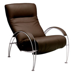 Lafer - Lafer Billie Modern Recliner, Mocha - Beautiful lounge chair for comfort sitting and relax. It comes in regular leather colors with silver base. It has got different functioning controls which suits you. Release knob for backrest adjustment. Ergonomic seating in any and every position. Backrest adjustment & footrest activation have separate controls. There is armrests follow the backrest movement down to the sleeping position and manually adjustable headrest is there to adjust according to our comfort. .
