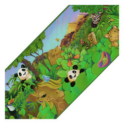 York Wallcoverings - Cartoon Jungle Animals Prepasted Wallpaper Border Roll - FEATURES: