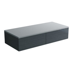 ADM - Wall Hung Cabinet Shelf with Solid Surface Top and Drawers, Glossy - CB-102