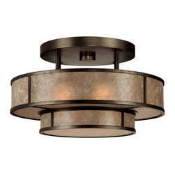 Fine Art Lamps - Singapore Moderne Bronze Semi-Flush Mount, 600940ST - Bring radiant warmth to your modern home with this semi-flush mount fixture. Here, steel becomes sensual with circular shapes, a slight patina and a translucent mica shade.