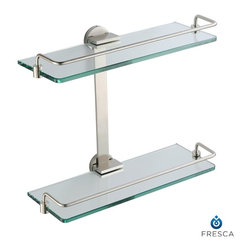 """Fresca - Fresca Ultimo 2 Tier Bathroom Glass Shelf - Brushed Nickel - Create additional space in your bathroom with a wall-mounted Fresca Ultimo 2 Tier Bathroom Glass Shelf, part FAC0946BN. It's ideal for storing bathroom items in a shower or above a bathtub, or for displaying decorative items. The thick bathroom glass shelves are securely attached to the sides, and the mounting hardware is easy to use. Raised chrome rails add a decorative touch, and all non-glass components are forged from solid brass. Your brass glass shelf measures W 13 3/4"""" x D 5 1/2"""" x H 11 5/8"""""""