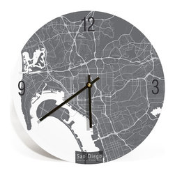 "ArtnWalls - SAN DIEGO MAP ART Wall Clock - Unique Contemporary Art Wall clock - 16"" - Abstract San Diego California, map art - Features the streets of America's finest city."