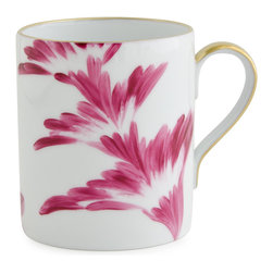 Michael Devine Ltd. - Charlotte Mug, Cyclamen - This graceful design, masterfully hand painted in France on Limoges porcelain by Marie Daage, is inspired by Michael Devine's hand printed fabric. The butterfly motif adds a note of whimsy to the pattern on the dessert plate, mug, breakfast cup and saucer, as well as the teapot. Each beautiful piece is accented in 24 karat gold.