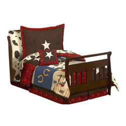 Sweet Jojo Designs - Wild West Toddler Bedding Set - The Wild West  5 piece Toddler Bedding set will help you create an incredible room for your child. This western themed boy bedding set combines Jojo exclusive cowboy print, cow print, red bandanna print, plaid, denim, and micro suede in a patchwork construction. The detailed embroidered horseshoes and sheriff stars finish the look perfectly. This collection uses the stylish colors of Red, Chocolate Brown, Camel, Blue and Gold.