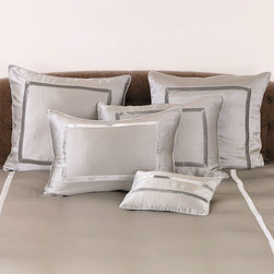 Silk Velvet Pillow Cover - Euro - Pebble - Inspired by the resplendent bed dressings favored by European aristos, the Silk Velvet Pillow Covers boast a sumptuous blend of silk velvet and silk charmeuse. A rectangular velvet detail on the front  provides a dramatic contrasting effect, lending the covers a stylish and striking aesthetic well suited to modern and traditional decor alike.