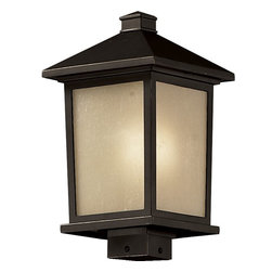 Z-Lite - Z-Lite Holbrook Outdoor X-BRO-BHP735 - Clean, mission styling and rectangular detailing define the classic styling of this large outdoor post head. Tinted seedy glass panels create an elegant glow, while the cast aluminum hardware finished in oil rubbed bronze can withstand nature's seasonal elements.