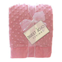 Sweet Jojo Designs - Minky Dot Chenille Baby Blanket in Baby Pink with Pink Satin Border - Baby your baby with luxuriously soft minky fabric. This cozy sky blue blanket is decorated with gently raised dots that add texture and style. The matching silk trim border provides another smooth feel for baby to explore and cuddle. It's the perfect shower gift!