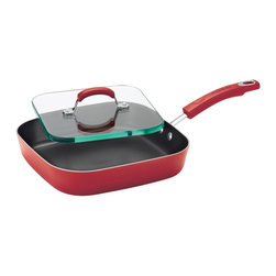 Rachael Ray - Rachael Ray 11-inch Square Red Non-stick Deep Griddle/ Glass Press - Make mouth-watering paninis from the comfort of your own kitchen with this durable Rachael Ray Deep Griddle and Glass Press. Covered in a bold red enamel,this eye-catching set is ideal for grilling sandwiches to perfection.
