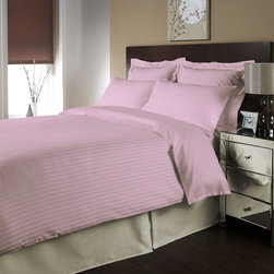 "Egyptian cotton Sheet Set With 28"" Deep Pocket 600 TC Stripe ( Queen , Pink ) By - Set include 1 Fitted sheet(60 x 80 inches), 1 Flat sheet(90 x 102 inches�) and 2 Standard pillowcases(20x 30 inches�) only."